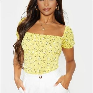 Prettylittlething floral yellow top